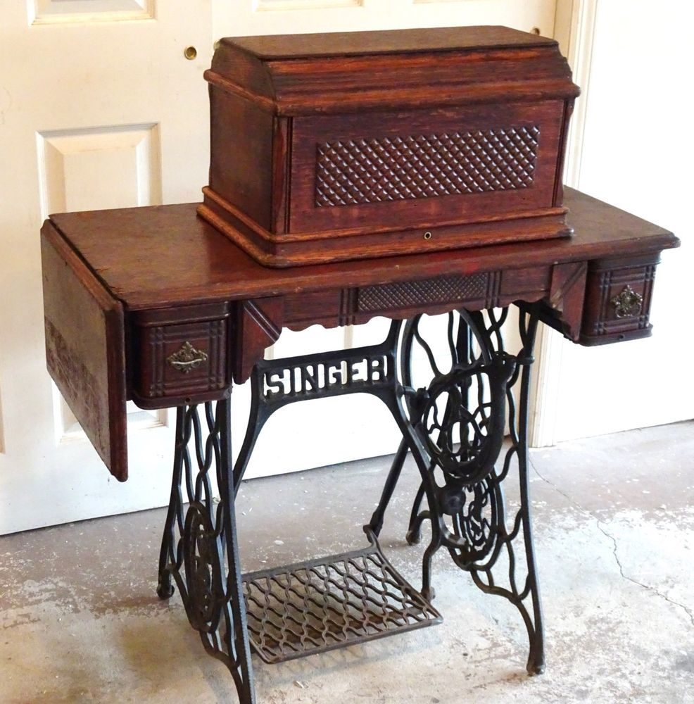 1896 Treadle Singer Oak Sewing Machine In Cabinet W Rare Coffin Box Cover
