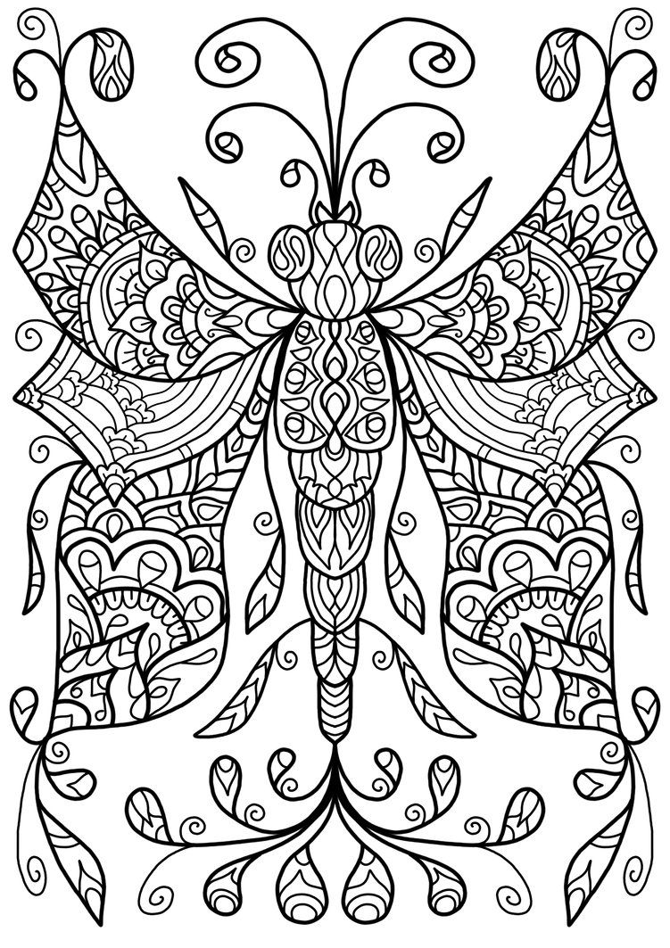 Free Colouring Page Dragonfly Thing by WelshPixie on