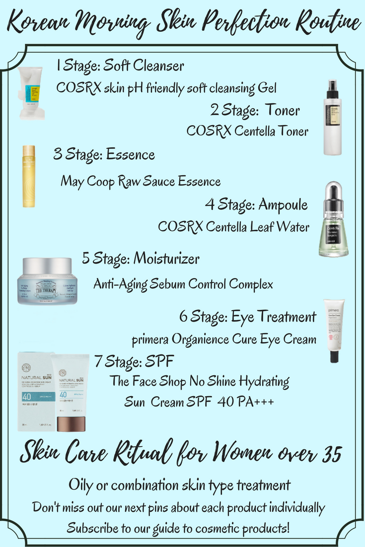 Korean Skincare Morning Routine For Oily Combination Skin For Women In Their 30 S Mild Korean Skincare Routine Simple Skincare Routine Skin Care Routine Steps