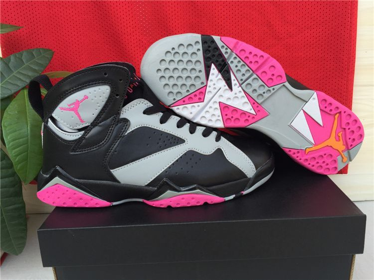 half off 36f4d aa738 ... authentic new air jordan 7 black grey pink shoes for women d0e64 71672