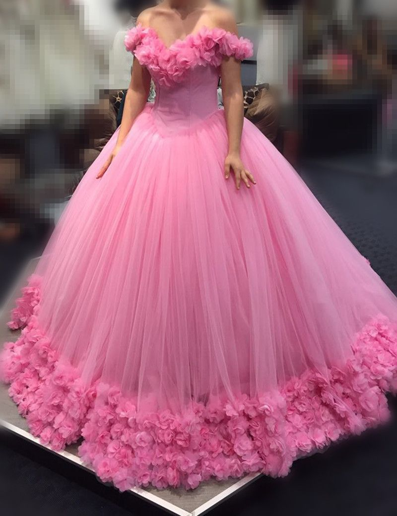 f6d126eda72 Find More Wedding Dresses Information about Arabic Said Mhamad Pink Wedding Dresses  2017 Off the Shoulder 3D Appliques Robe De Mariage Tulle Farbic Plus ...