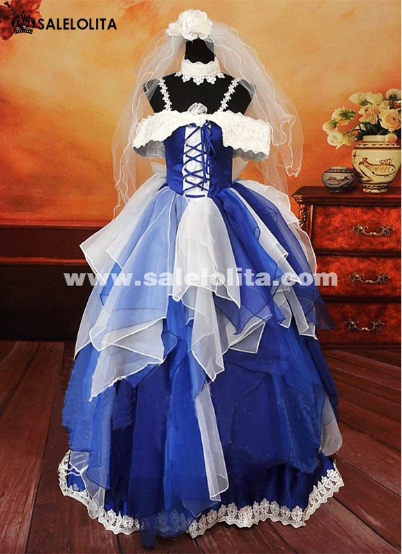 Noble Blue And White Spaghetti Strap Wedding Dress Anime Macross