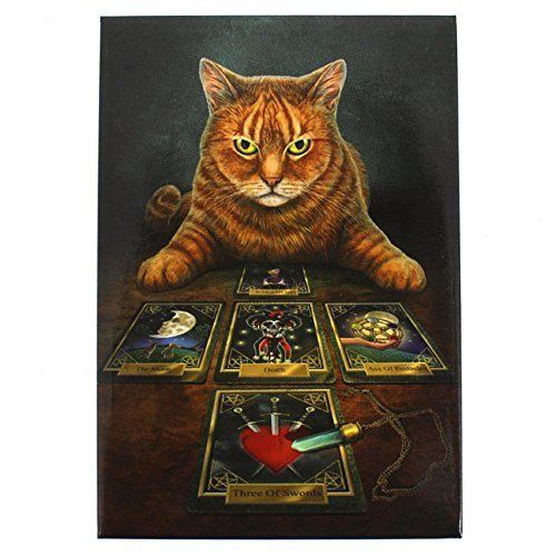 Amazon.de: The Reader - Fantastic Design by Artist Lisa Parker - Cat With Tarot Cards Canvas Picture