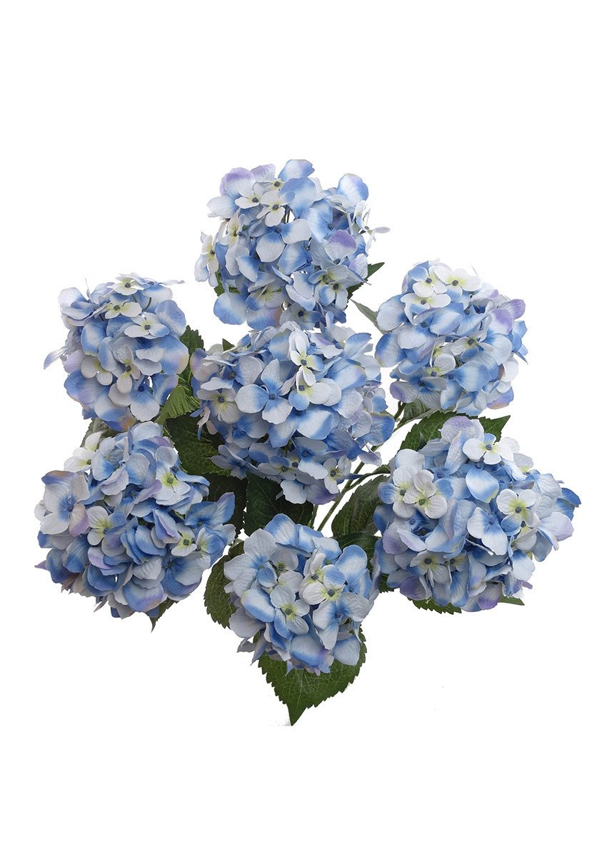 Artificial Hydrangea Bush In Light Blue 25 Tall X 6 Blooms Silk Flowers Wedding Diy Bridal Bouquet Wedding Flower Guide