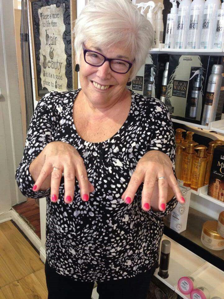 Our lovely Jenny got her hair and nails done by Vicky and Shakera ...