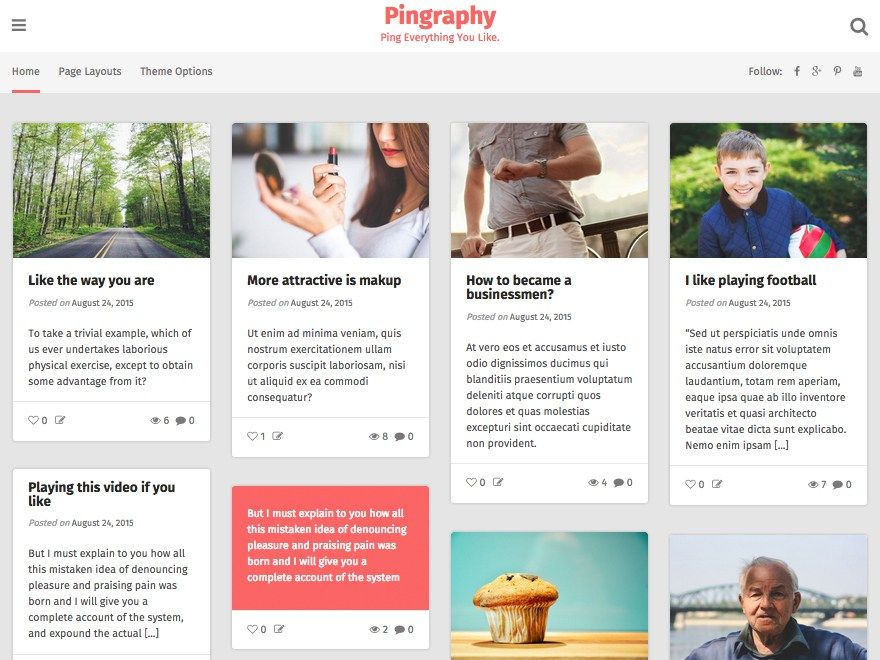 Pingraphy is a Pinterest-style WordPress theme. The theme is 100 ...