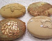 4 fabric covered buttons - gold bling -1 7/8 inches