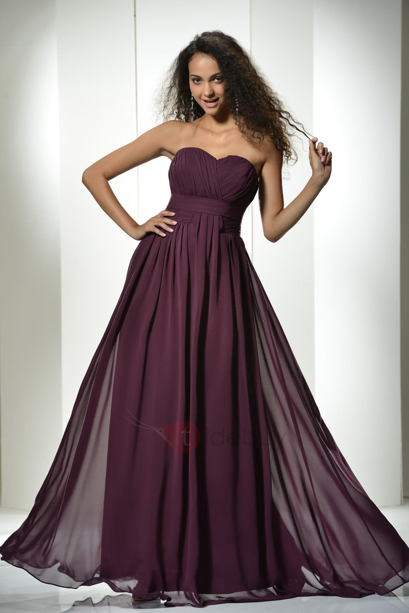 Simple ruched aline floorlength sweetheart empire waist long dress