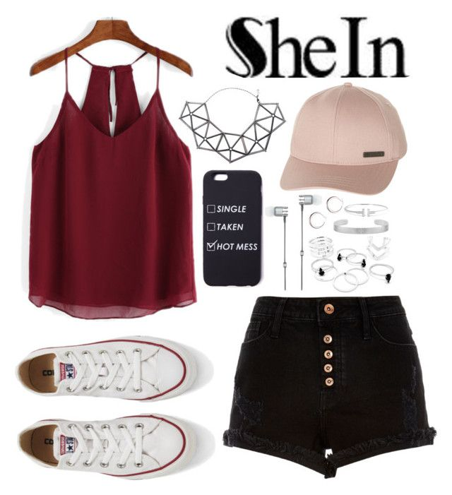 """""""SheIn Chiffon Cami Top Contest"""" by jackiemchevy ❤ liked on Polyvore featuring River Island, Converse, WXYZ by Laura Wass, Billabong and Master & Dynamic"""