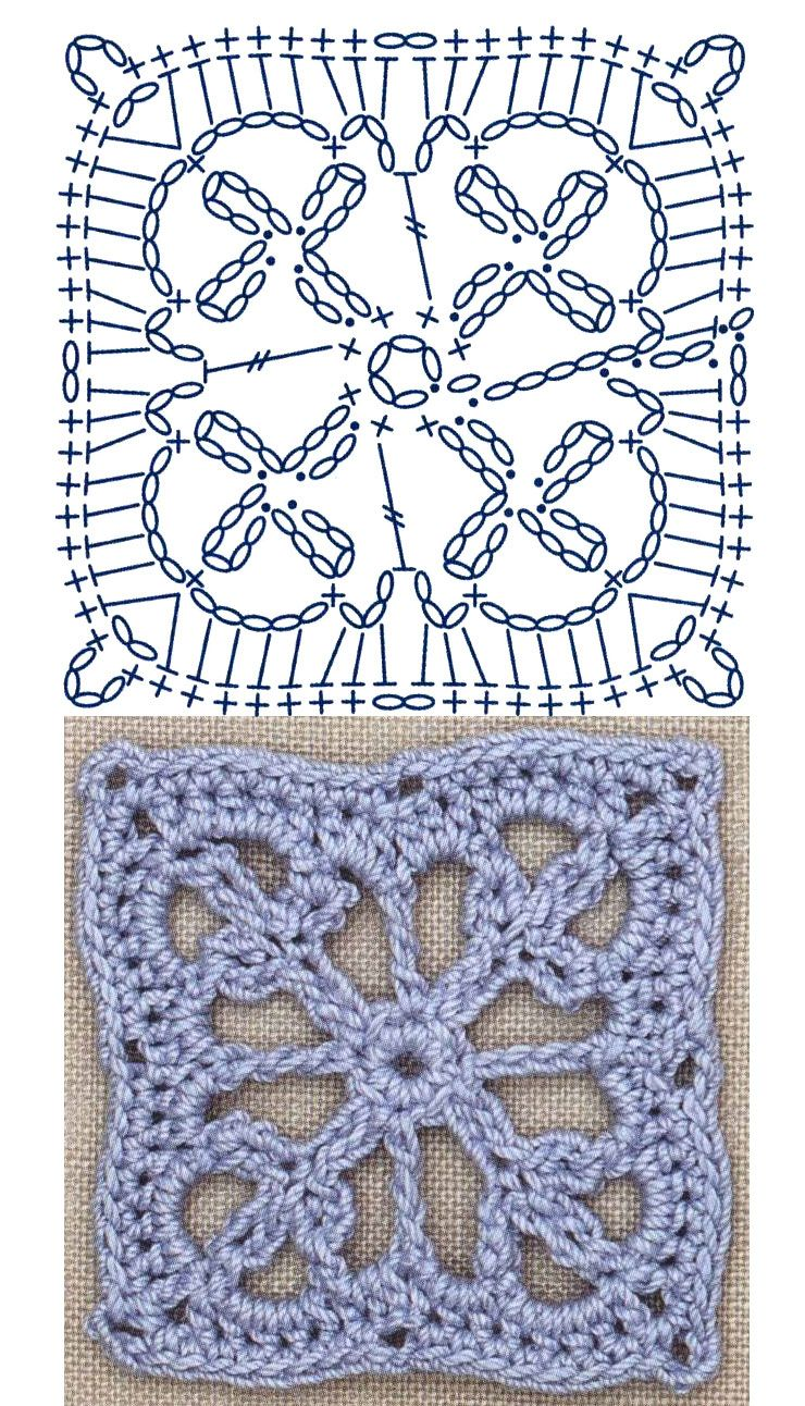 No.28 Branched Square Lace Crochet Motifs / 브랜치무늬 사각 모티브 ...