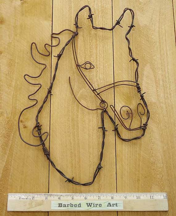 Horse Head - Handmade metal decor barbed wire art country western ...