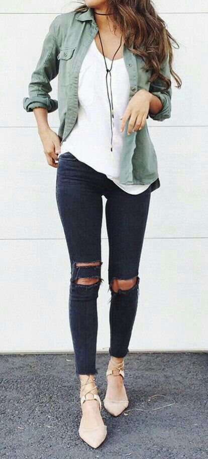 Jeans Blusa Y Casual Negros Nude Blanca Bonita Flats Rotos An6XwxRqX