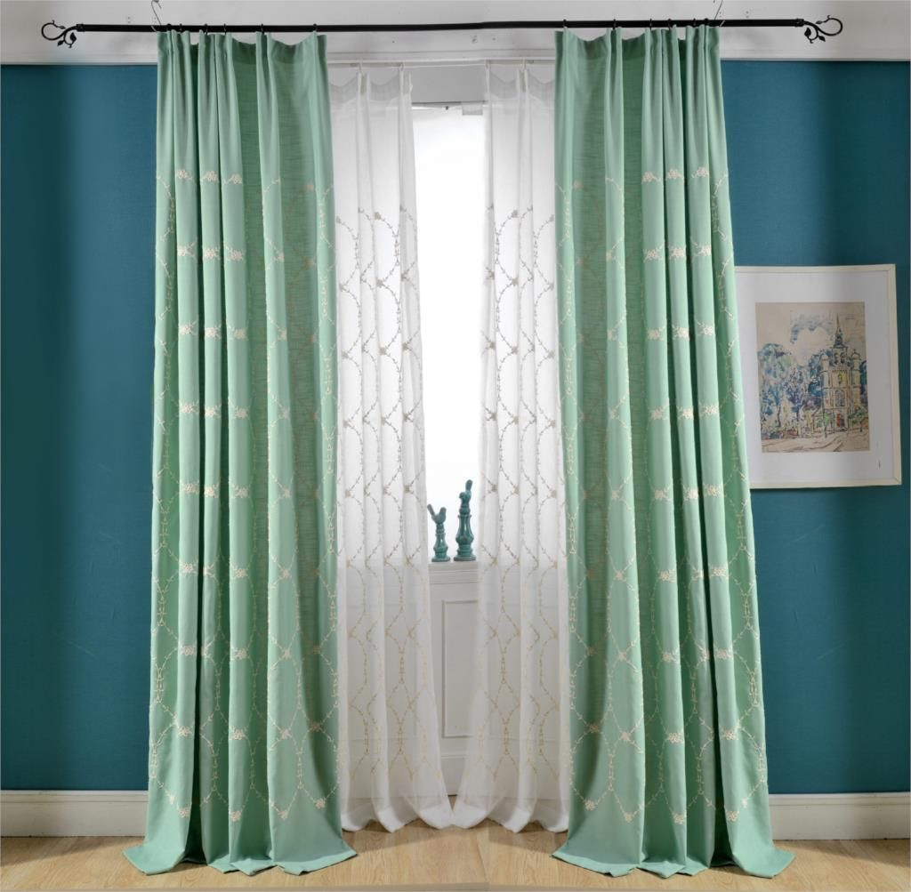 Curtain Fabric Wholesale High Grade New Green Embroidered Cotton Curtain Fabric Wholesale