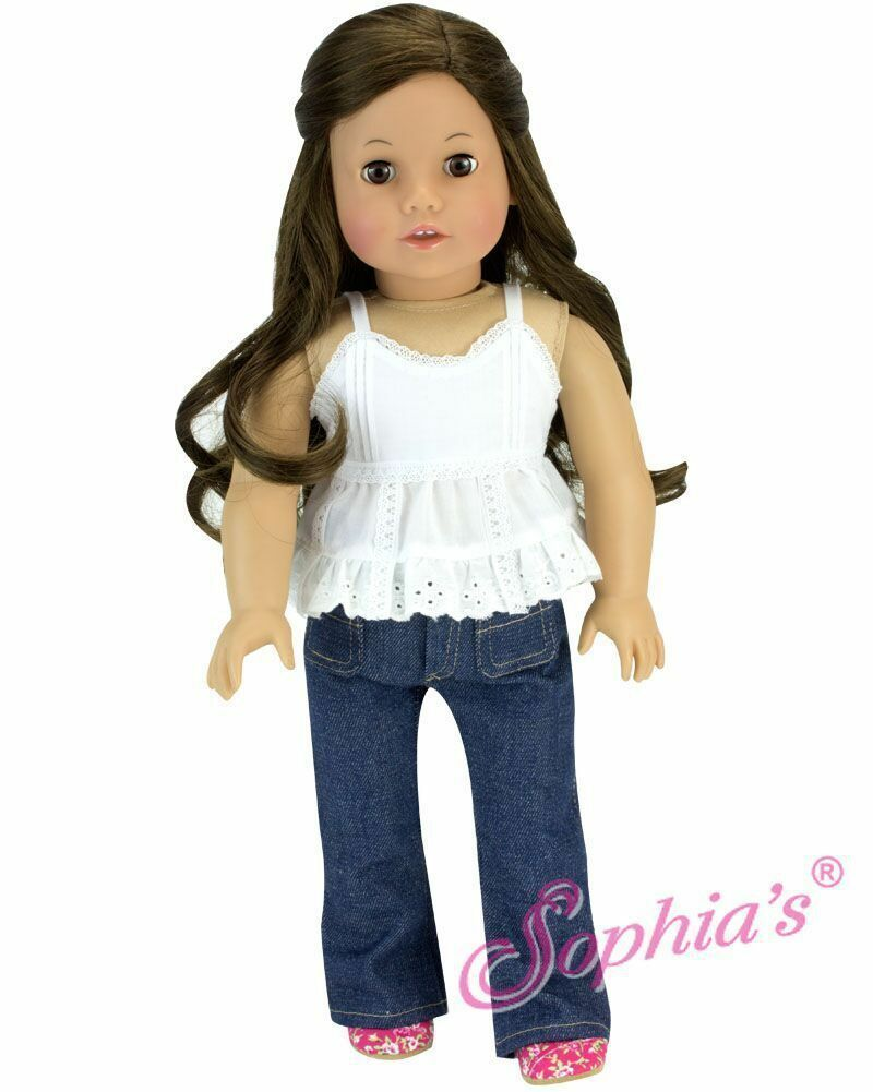 Pink Tank with Lace Trim  Fits 18 inch American Girl Doll