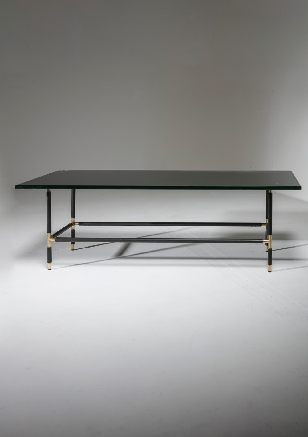 Remarkable Coffee Table Model 1736 By Fontana Arte Gray Mirrored Thick Glass Top Is Supported By A Thin Metal Frame With Brass Conne Coffee Table Table Fontana [ 1416 x 1000 Pixel ]