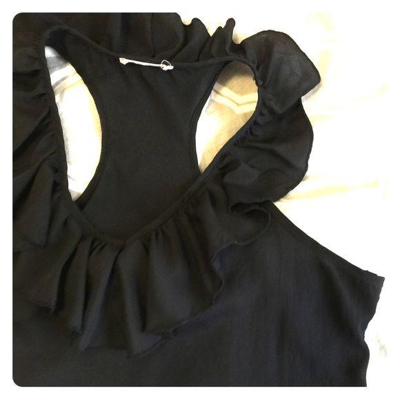 Black Ruffle Top Ruffles on collar. Perfect condition. Lush Tops Tank Tops