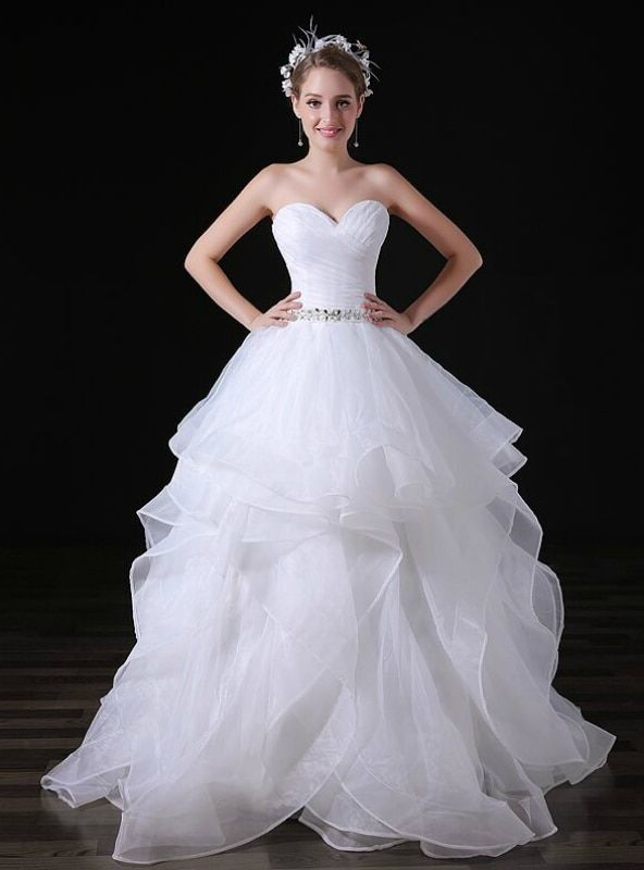 7fbf7715860a3 Simple White Ball Gown Tulle Sweetheart Neck Tulle Wedding Dress #dress #dress2019#dresscheap