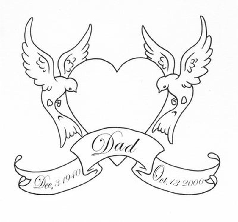 Outline heart swallows birds with banner tattoo design