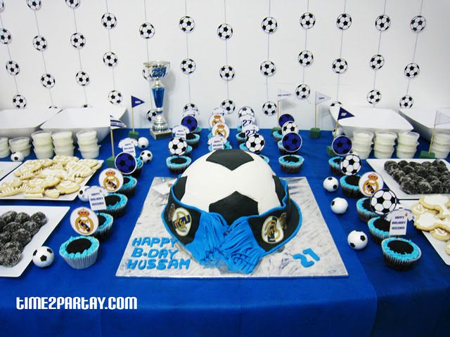Photo 6 Of 17 Real Madrid Soccer Football Birthday Real Madrid Soccer Football Themed Soccer Birthday Parties Football Birthday Party Football Birthday