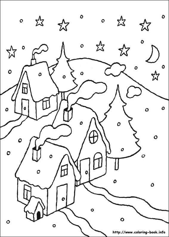 □ Christmas coloring picture... simple snow scene of houses and ...