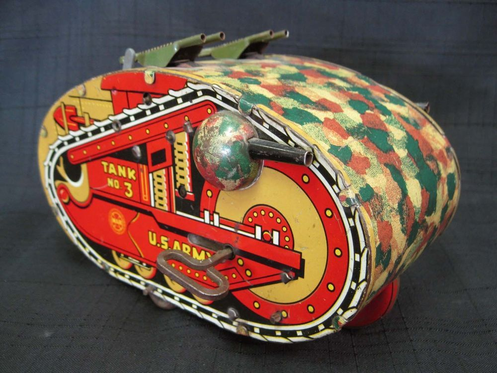 Western Bedroom Tank Toy Box Or: MARX Tin Litho Sparking Sparkling Wind Up US Army Tank No