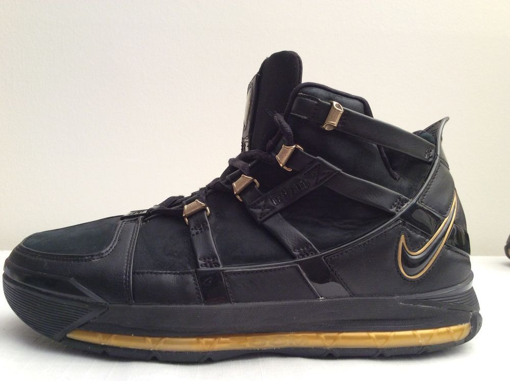 d04489069edc4 2005 Nike Zoom LEBRON III 3 BLACK METALLIC GOLD Mens Shoes Size 10.5 312147  006  Nike  AthleticSneakers