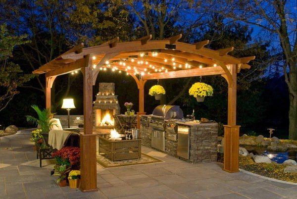 Backyard Bbq Design Ideas | Backyard Bbq Area Wooden Pergola Outdoor  Kitchen Stone Fireplace .