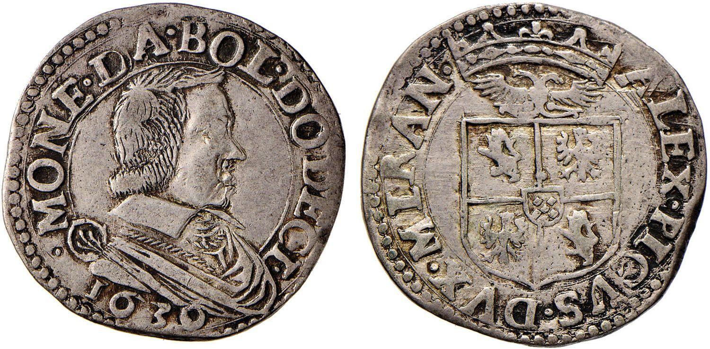 NumisBids: Nomisma Spa Auction 50, Lot 144 : MIRANDOLA Alessandro I Pico (1602-1637) 12 Bolognini 1630 per il...