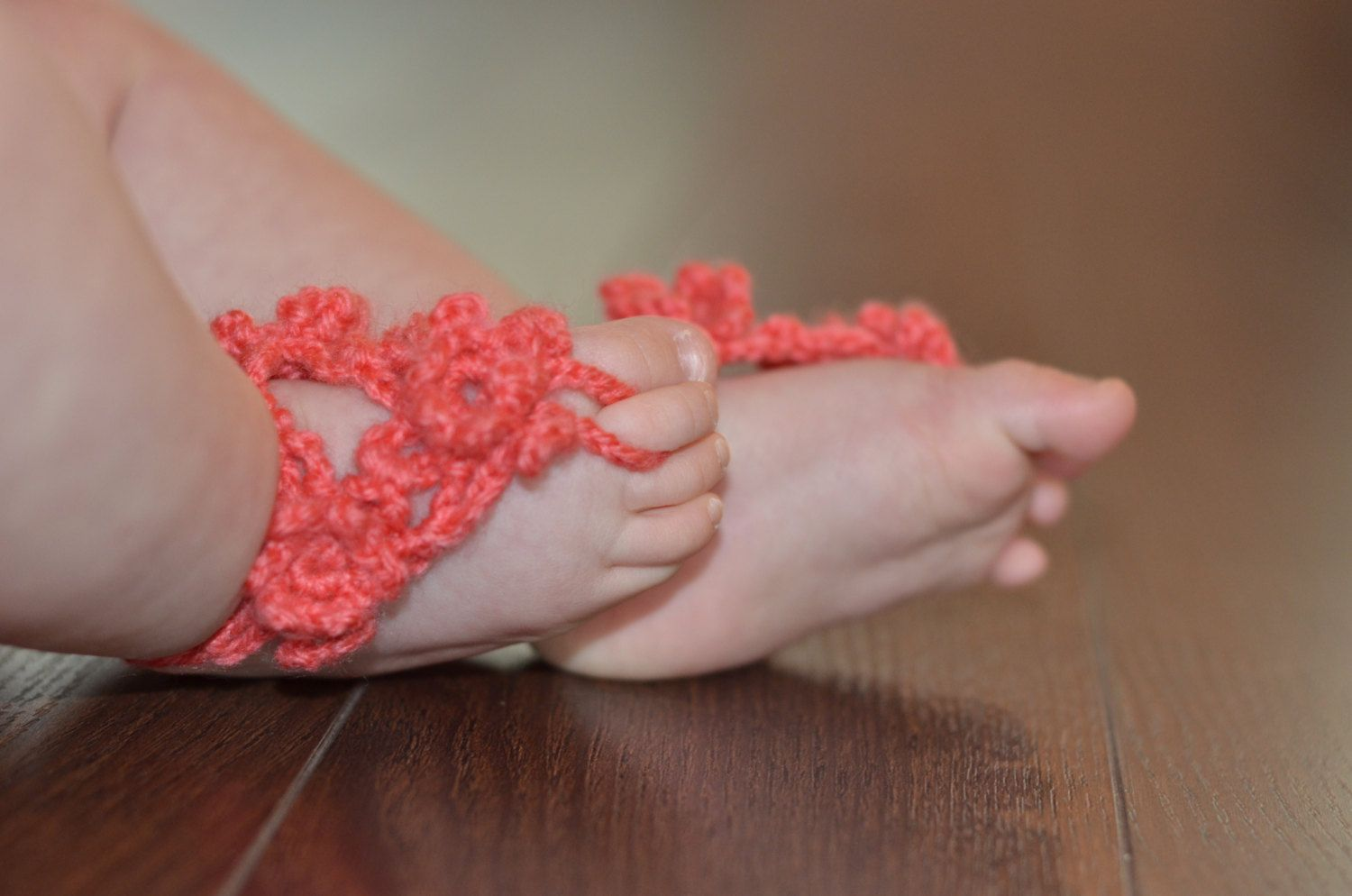 Crochet+baby+sandals+in+'coral'++size+6/9+by+SweetPeaDesignsCA,+$10.00