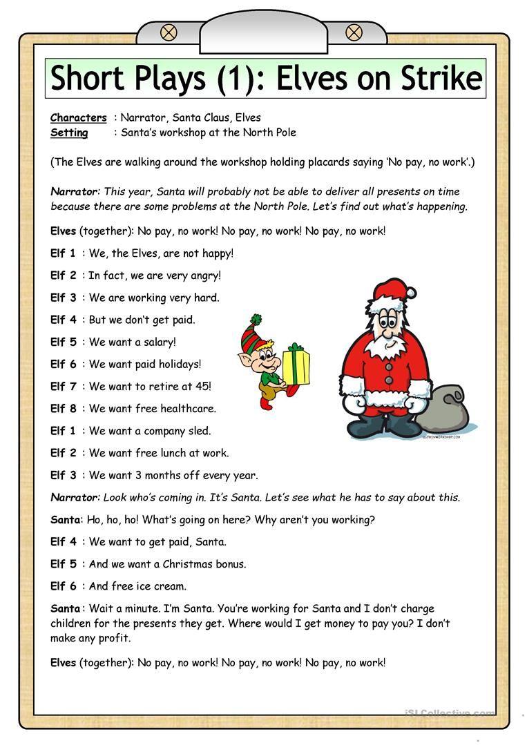 Short Plays 1 Elves On Strike Worksheet Free Esl Printable Worksheets Made By Teachers Short Play Christmas Plays For Kids Christmas Play Scripts [ 1079 x 763 Pixel ]