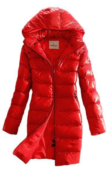 Moncler Women Moka Hooded Long Down Coat Red Quilted Outerwear