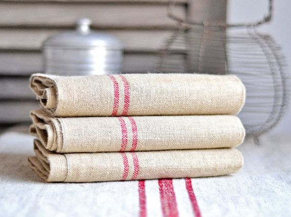 unused vintage french hemp tea towels - set of 3. €59.00, via Etsy.