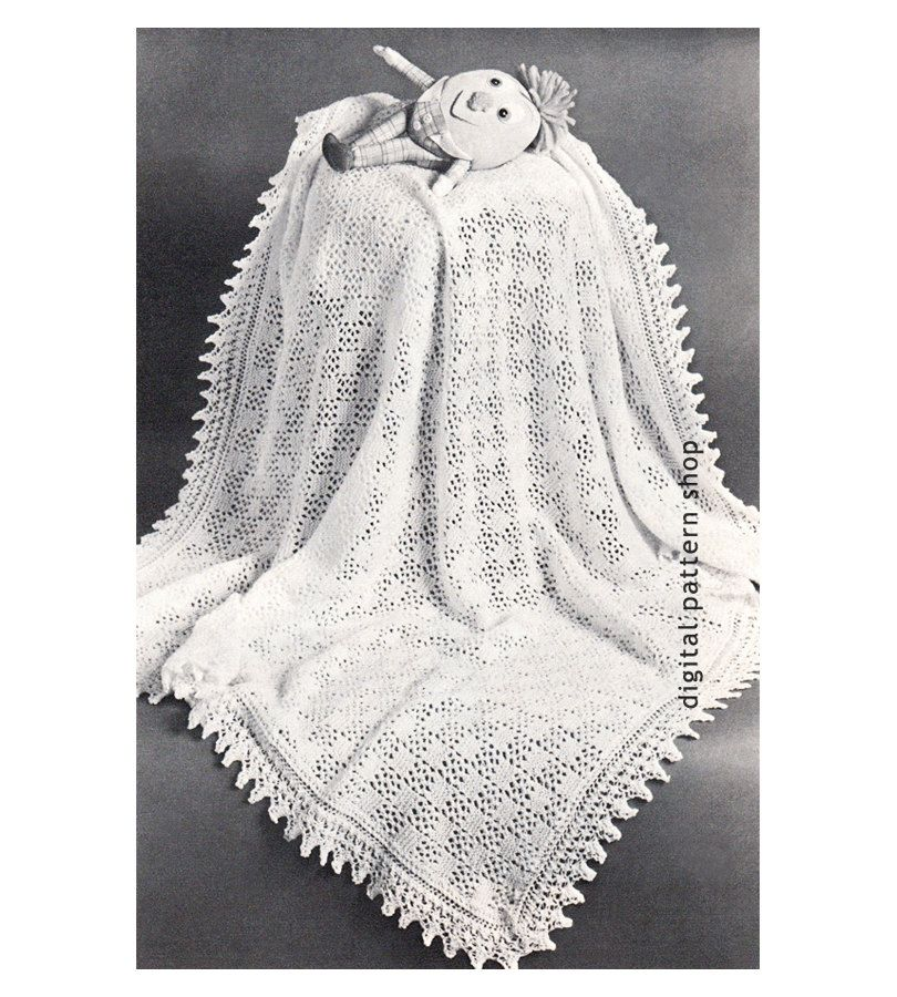 Vintage Baby Blanket Knitting Pattern Knit Lacy Shawl Blanket ...