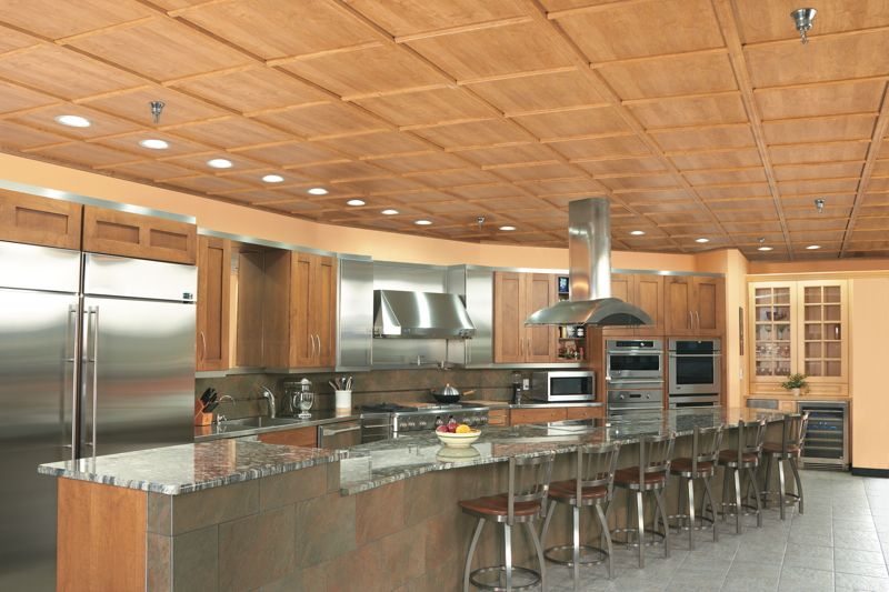 Kitchen with a WoodTrac ceiling in a kitchen and cabinet ...