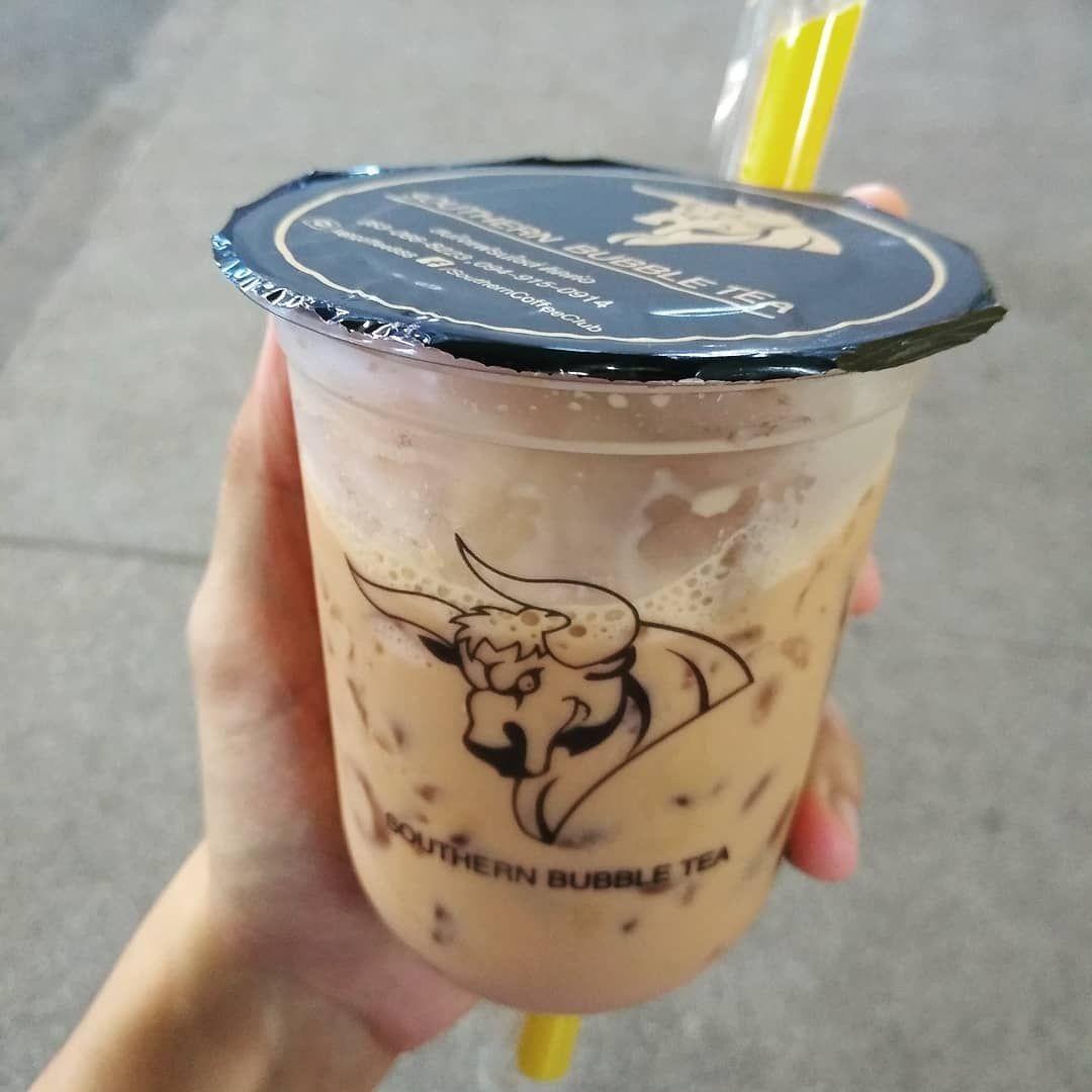 Bubble Thai milk tea 20 thai baht (But I took this photo didn't seen any bubble 😂) . .