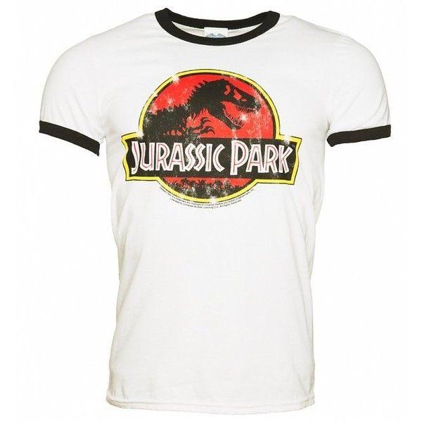 Men S White Jurassic Park Logo Ringer T Shirt 34 Cad Liked On