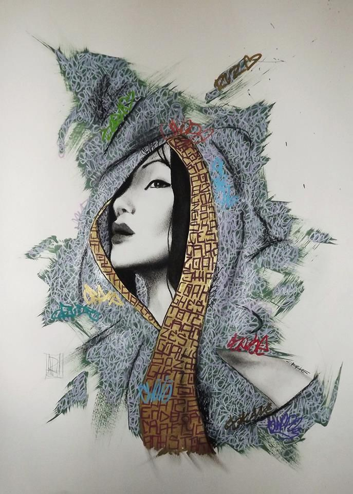 graff tag geisha collab with jonny arnold by Cherie Strong