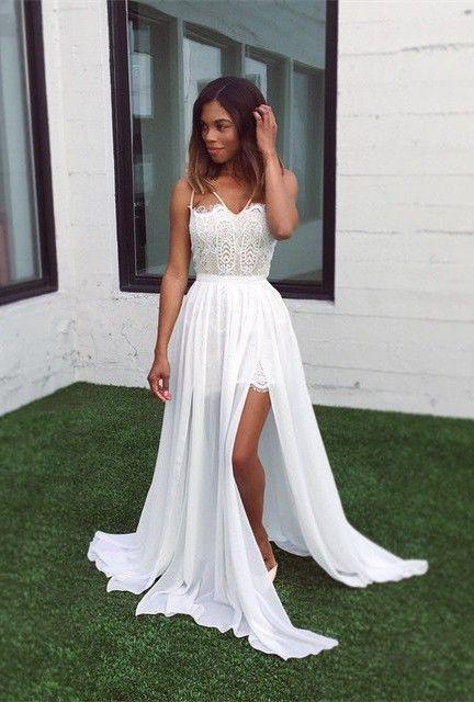 White Lace V Neck Sleeveless Sweep Train Split A Line Prom Dress
