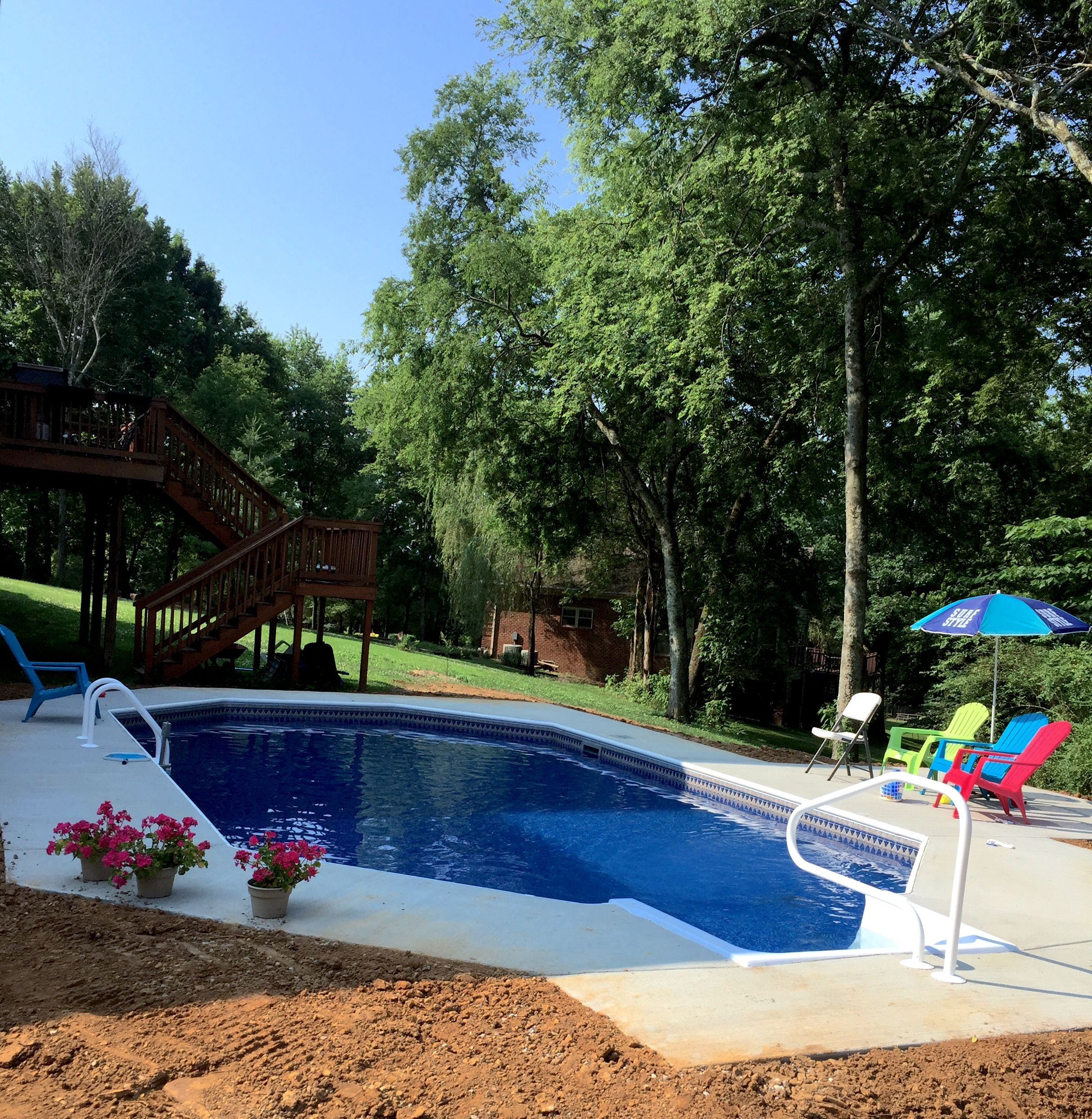 Pool And Spa Depot 17 X 31 Steel Wall Grecian Pool Blue Hampton Liner Pattern Bull Nose Coping Broom Finished Concrete Decking W Spa Pool Pool Simple Pool