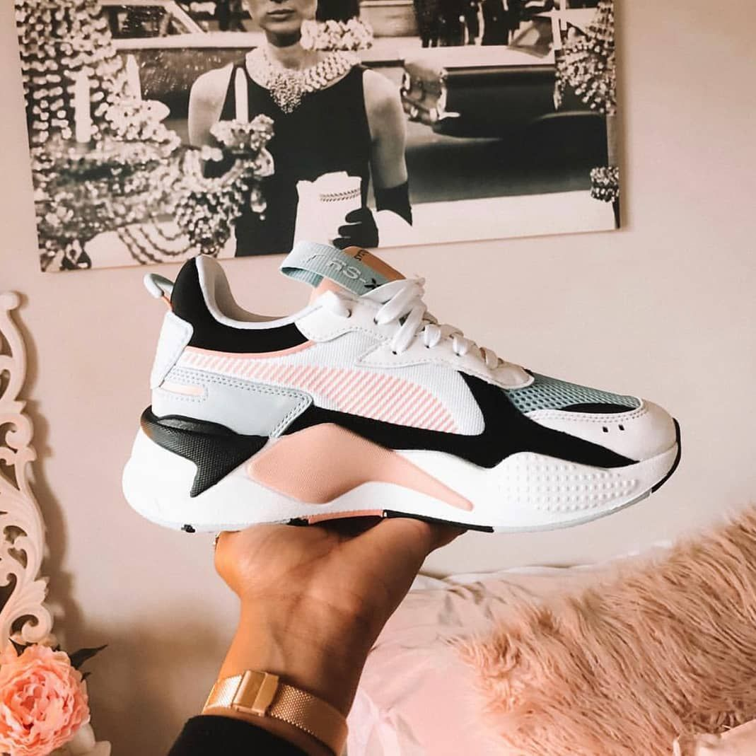 eebed8ebe189 Seriously stylish PUMA RS-X Reinvention Sneakers in PUMA Black and Peach  Bud (white