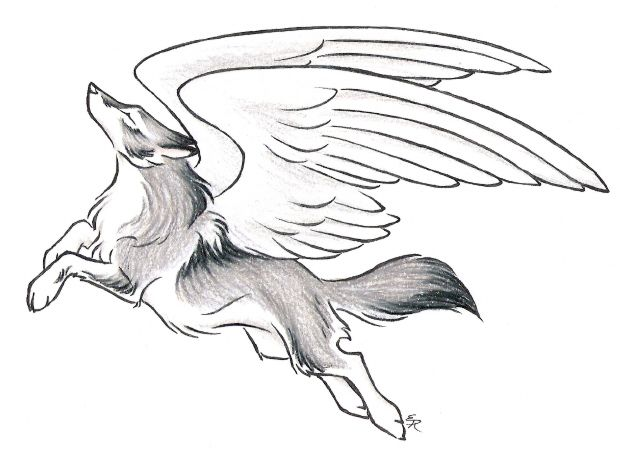 Mystical Fantasy Leaping Wolf Drawing With Wings Tattoo