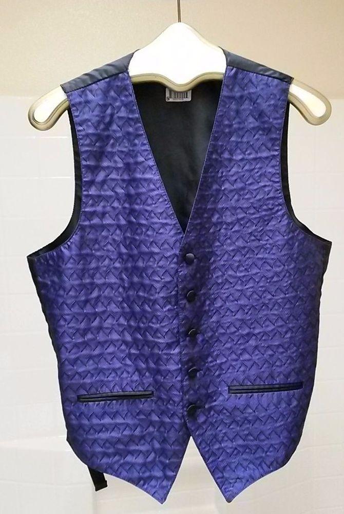 Vintage SMALL Formal Vest Royal Purple w/Black Back & Trim / NEIL ALLYN
