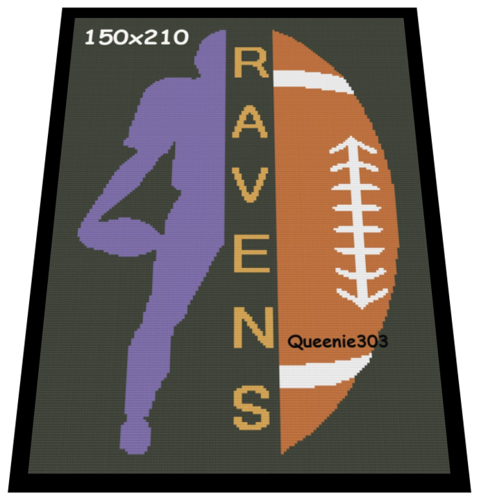 Player Football Split Ravens 150x210 Crochet Graphs in
