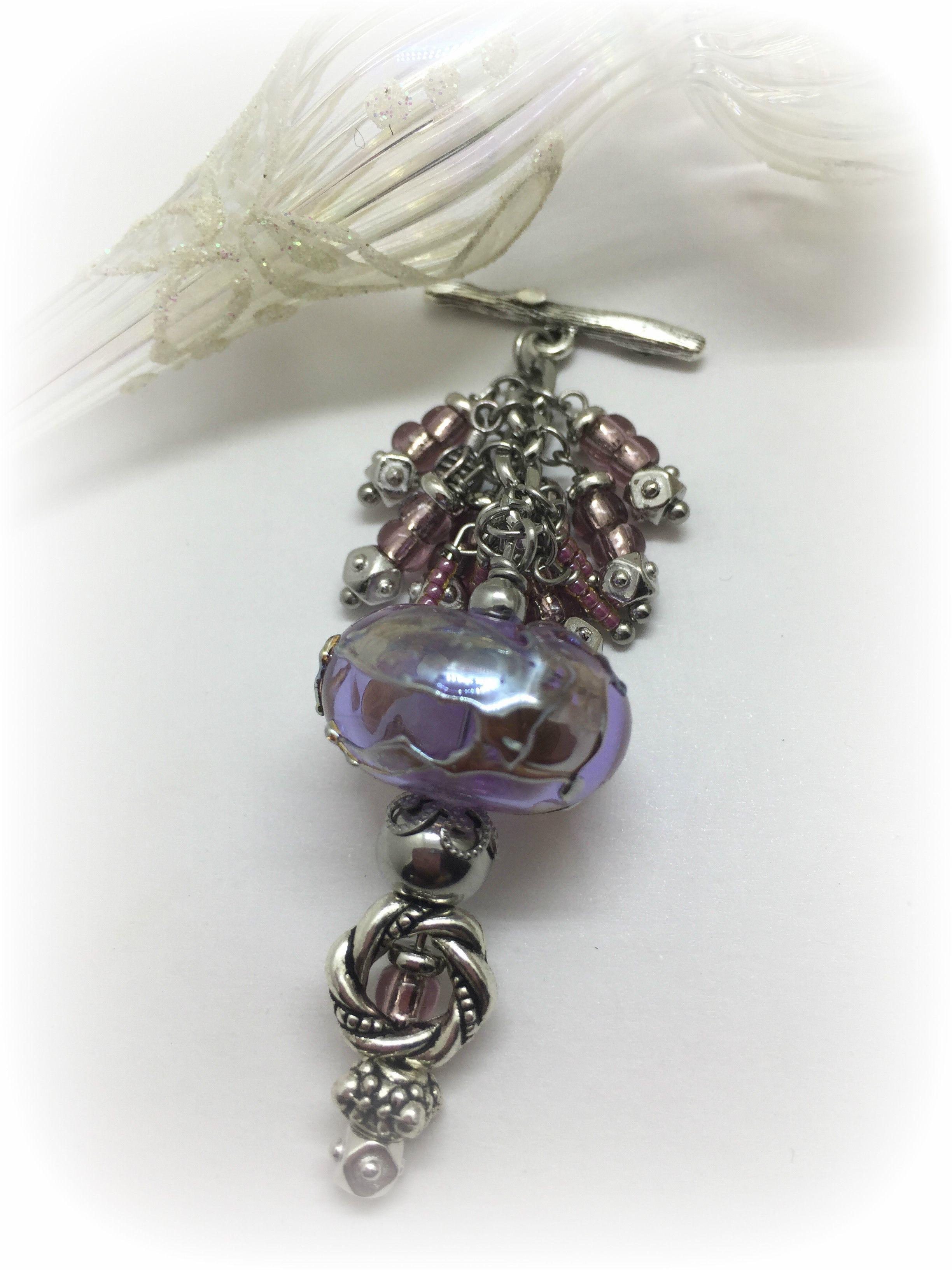 Gold Leaf Lampwork Glass Beaded Pendant Necklace  1216D   handmade ... 3d9653cb47