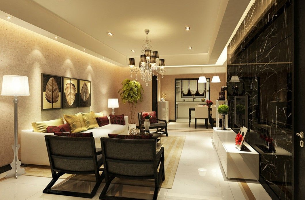 Marble Flooring Ideas For Modern Living Room And Dining Room Combo