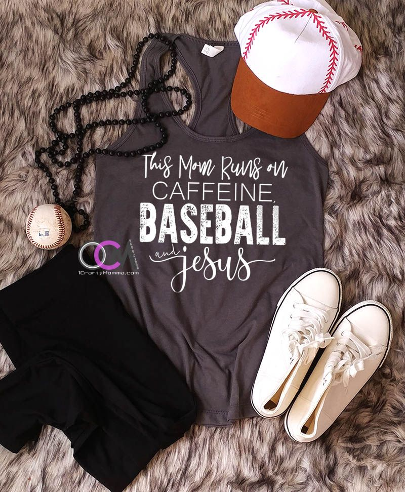 9e3ad4566 This Mom Runs on Caffeine Baseball & Jesus Tank, Baseball Mom Shirt,  Baseball Mom Tank Top, Jesus Shirt- Racerback 19.99