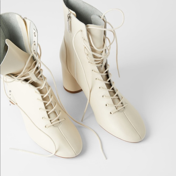 Leather lace up boots, Leather ankle boots