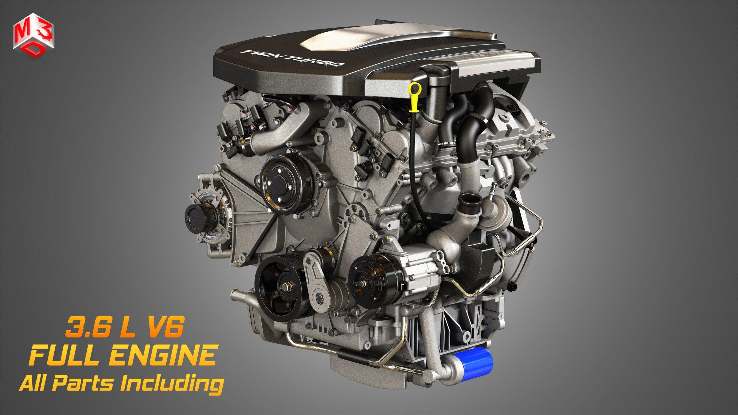 Twin Turbo V6 Engine 3d Model Twin Turbo Engineering Turbo