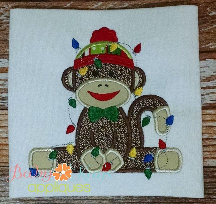Sock Monkey BOY covered in Christmas Lights 4x4, 5x7, 6x10