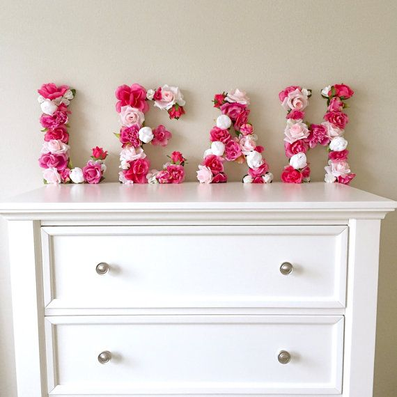Floral Letter Flower Letter Baby Girl Nursery Wall Art